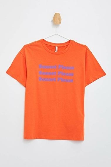 DeFacto Baskılı Kısa Kollu T-Shirt Oranj